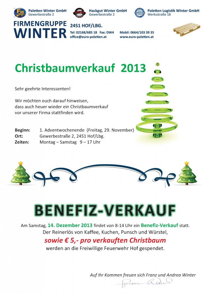 Christbaumverkauf 2013